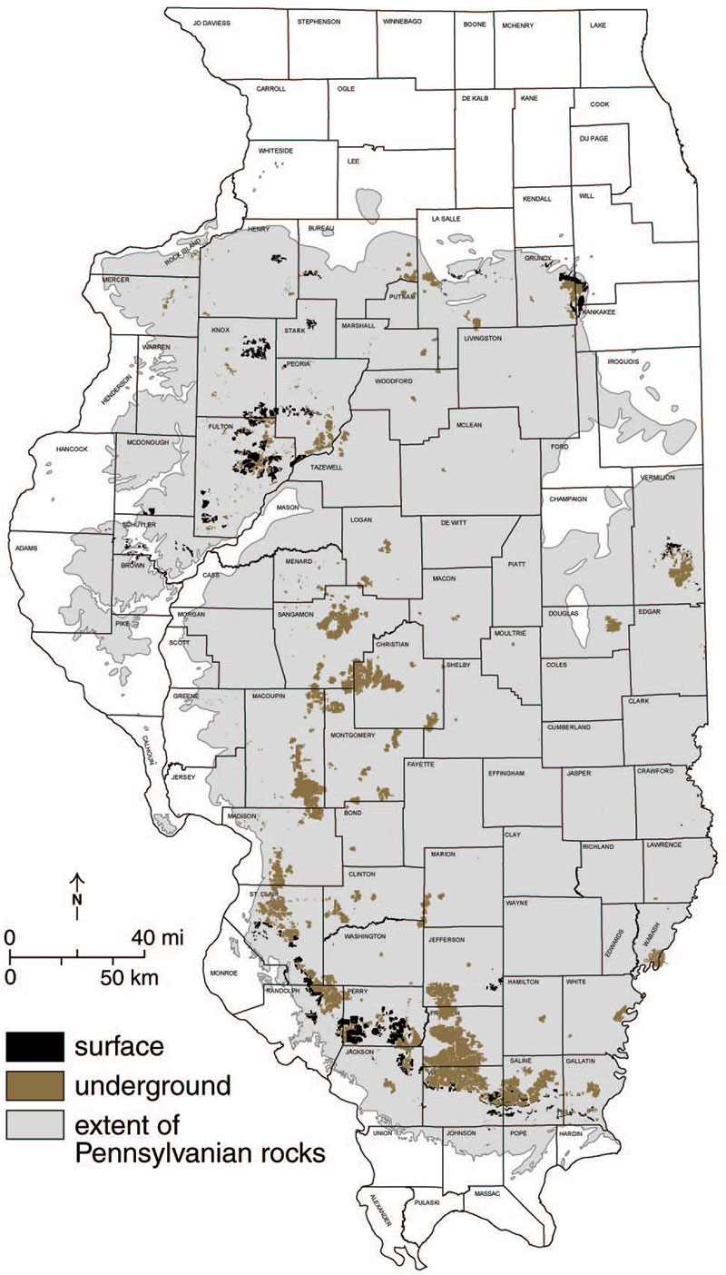 Illinois Mine Subsidence Map History of Mining in Illinois   About Mine Subsidence   Illinois